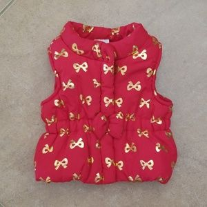 Newborn Baby Vest Shinny Red with Gold Bows